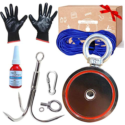 Logui Magnet Fishing Kit - Fishing Magnets 1200 LB Pull (Combined) - Double Sided Magnet Includes Grappling Hook, Heavy Duty 65FT Rope, Gloves, Locking Carabiner & Threadlocker - Neodymium Magnet