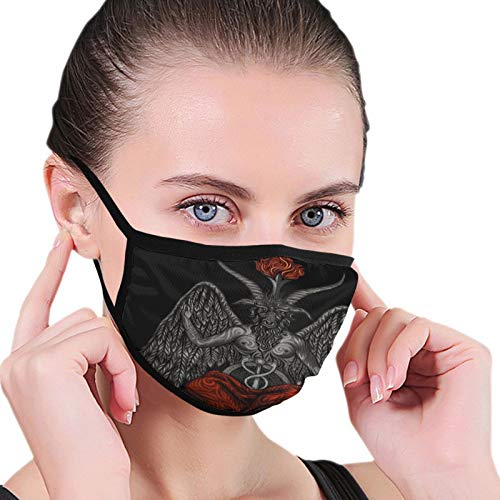 Face Mask Demon Baphomet Black Border Masks Dustproof Balaclava Washable Mouth Cover for Sport Outdoor Activities