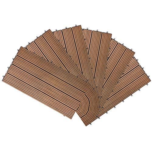 LARS360 WPC - Baldosas de suelo 30 x 30 cm, baldosas de terraza, baldosas de balcón con drenaje para terrazas, balcón, jardín, 11 unidades, color