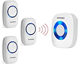 PHYSEN Model CW Wireless Doorbell kit with 3 Push Buttons and 1 Plug-in Receiver Operating Range up to 1000ft,4 Volume Levels and 52 Melodies Doorbell Chimes,No Batteries Required for Receiver