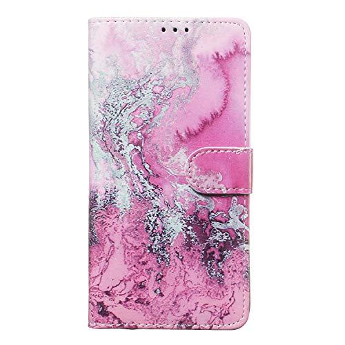 Miagon für Samsung Galaxy M10 Marmor Flip Hülle,PU Leder Klapphülle Bookstyle Brieftasche Wallet Ständer Case Cover,Rosa Welle