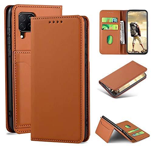 iLovecover Handyhülle für Huawei P40 Lite/Nova 6 SE/Honor 7i (6.4 Zoll) Hülle,Premium Leder Flip Schutzhülle Leder Wallet Tasche Klapphülle glatt Silikon Bumper Handytasche,Braun