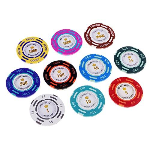 MagiDeal 10 Stücke Casino-Poker-Chips mit Zahlen, 10 Poker-Chips Nennungen