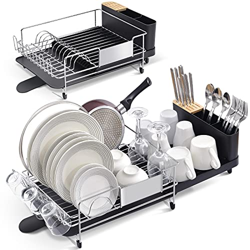 TOOLF Stainless Steel Dish Drying Rack, Expandable Kitchen Sink Organizer and Drainboard Set, Large Capacity Kitchen Accessories with 360° Swivel Spout, Black, One Piece
