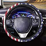 PZZ BEACH Retro Style American US Flag Res Stars Striped Flag Pattern Car Steering Wheel Cover Universal Fit 15 inch Auto Steering Wheel Wraps