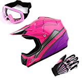 WOW Motocross Helmet Youth Spider Pink (Size: Small) + Goggle + Glove (Size: Small)