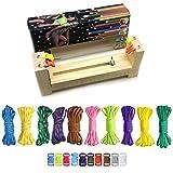 COSORO Jig Bracelet Maker Set - 10 Parachute Cords and 10 Side Release Plastic Buckles,Wristband Maker,Paracord Braiding Solid Wood Knit Weaving DIY Manual Braiding Kit