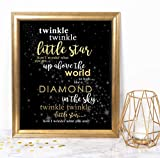Katie Doodle Twinkle Twinkle Little Star Decorations for Baby Shower Birthday Gender Reveal Party Supplies | Includes 8x10 Sign [Unframed], BW003, Gold/Black