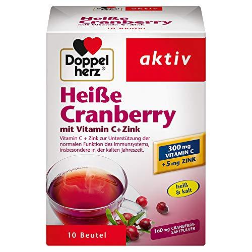 Doppelherz Heiße Cranberry / Vitamin C und Zink zur Unterstützung der normalen Funktion des Immunsystems / 1 x 10 Beutel
