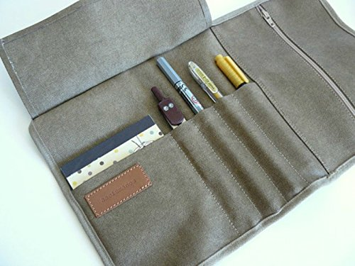 Khaki Roll up pencil case - aseismanos accessories handmade in Spain - Waxed/resined canvas blue roll up // adults pencil case/gift for him/ gift for her.