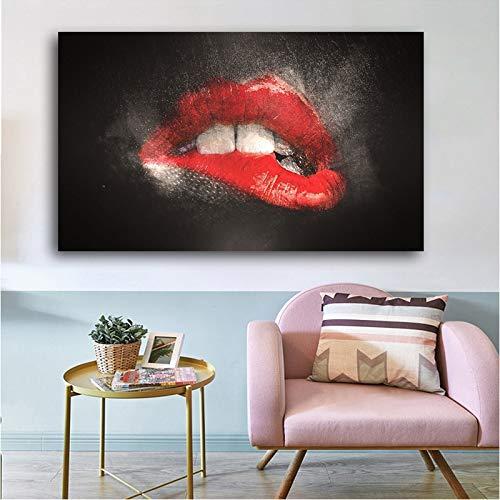 Pinturas en lienzo con fondo negro de labios sexis, impresiones en lienzo de arte abstracto en la pared para sala de estar, cuadros de pared de estilo INS 40x70 CM (sin marco)