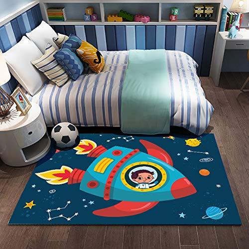Great Price! HMBBDT Cartoon Rocket Pattern Kids Rugs Non Skid Washable Children Carpet for Playroom ...