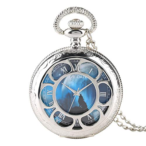 Vintage Ketten Taschenuhr,Quarz Taschenuhr Mit Römischen Ziffern Mit Chain Pocket Watch Männer Frauen Blau Retro Freizeitmode Antike Taschenuhren