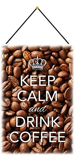 NWFS Keep Calm & Drink Coffee - Cartel de chapa metálica con texto 'Keep Calm & Drink...