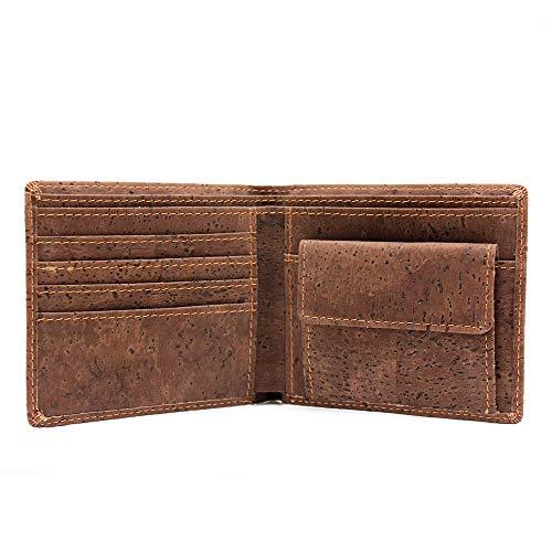 Geldbörse Kork Herren mit RFID Schutz – Kork-Portemonnaie vegan, 7 Karten-Fächer, Münz-Fach – Slim Geldbeutel Brieftasche aus Kork-Leder, minimalistisch, ökologisch, nachhaltig (dunkel-braun)