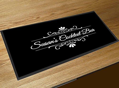 Alfombrilla para barra de bar personalizada, color negro