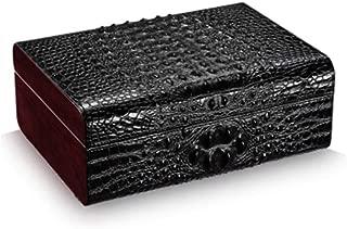 LIFANGAU Cigar Box, Natural Cedar Wood Cow Leather Crocodile Skin Cigar Humidor, Built-in Hygrometer Humidifier, Dual Zone Storage, Black, Brown (Color : Black)