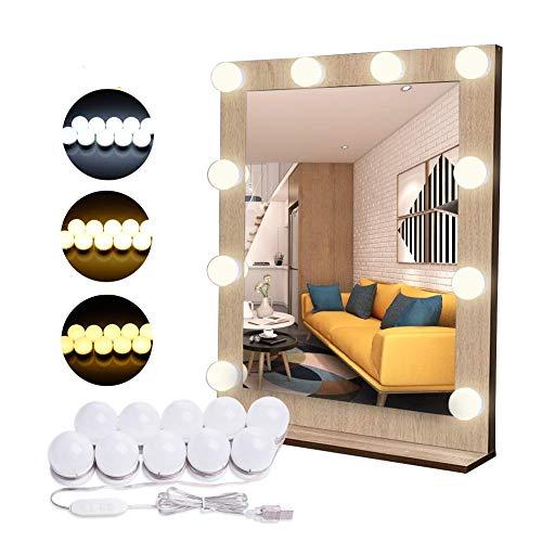 Flybiz Luces de Espejo con Usb Cable, Tocador LED Kit de Espejo con 10 Bombillas regulables, 3 Modos Ajustable de Color y 10 De Brillo de Luz, Para Diy Maquillaje Espejos Vestidor Baño Luz