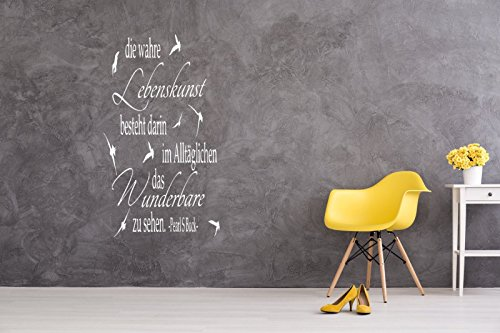 a-pk136 Wandtattoo Wohnzimmer Wandtatoo Arbeitszimmer Büro Spruch Zitat Lebenskunst besteht (H100 x B58 cm)
