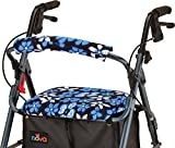 NOVA Rollator Walker Seat & Backrest Covers, Removable and Washable, Aloha Blue Flowers Design