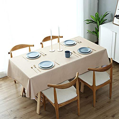 Ahuike Mantel Mesa Rectangular Impermeable cubremesa Sencillez doméstica de PVC para de Hogar Picnic del Hotel Tienda de Café Champán 110 × 160cm