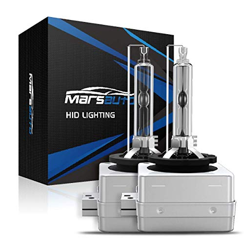 Marsauto D3S Xenon HID Headlight Bulbs 5000K Pure White 35W with Metal Stents Base and Gloves for 12V HID Headlight Replacement Bulbs 2Pack