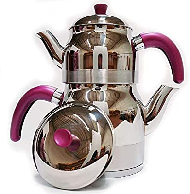 Lines Stainless Steel Tea Pot Set with Strainer - 4 Pieces - 3 Liter Capacity (Purple)