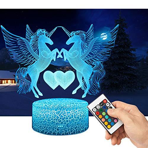 QiLiTd 3D Einhörner Lampe LED Nachtlicht mit Fernbedienung, 16 Farben Wählbar Dimmbare Touch Schalter Nachtlampe Geburtstag Geschenk, Frohe Weihnachten Geschenke Für Mädchen Männer Frauen Kinder