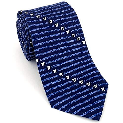 Josh Bach Herren Seidenkrawatte, Pi-Symbol, Mathematik-Krawatte, Blau