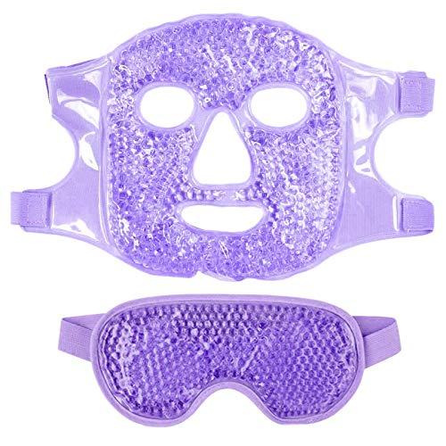 HLPIGF 1 Juego Mascarilla para Ojos Gel Hielo + Juego de Mascarilla Reutilizable para Terapia de FríO Caliente Calmante Relajante Gafas de Hielo para Dormir para Dormir PúRpura