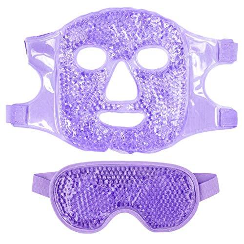 Exanko 1 Juego Mascarilla para Ojos Gel Hielo + Juego de Mascarilla Reutilizable para Terapia de FríO Caliente Calmante Relajante Gafas de Hielo para Dormir para Dormir PúRpura