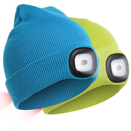 ZLSANVD Sombrero de gorro ligero LED unisex, sombrero de gorro ligero con luz de advertencia roja, USB recargable de punto de invierno iluminado faro sombreros, hombres mujeres senderismo pesca en bic