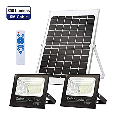 Solar Flood Lights Dusk to Dawn?Solar Security Lights Outdoor IP67 Waterproof 800LM 5000K 16.4ft Cable Outdoor Solar Lights 2-in-1 with Remote Outdoor Security Lighting for Barn,Garden,Pool,Garage