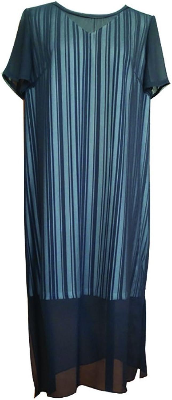 CG Women's Classy Round Neck Striped Retro Swing Dress Summer Short Sleeve Long Dress 856C094