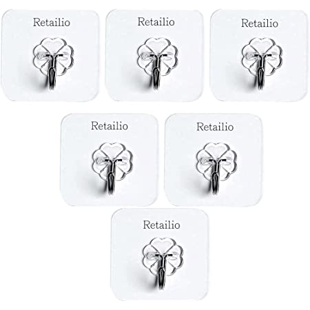 Retailio 6Pcs Self Adhesive Wall Hooks, Heavy Duty Sticky Hooks for Hanging 10KG (Max),Wall Hangers for Hanging Kitchen Bathroom Bedroom Accessories (6)