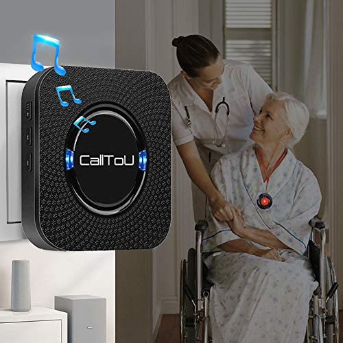 CallToU Wireless Caregiver Pager Call Button Nurse Alert System Call Bell for Home/Elderly/Patients/Disabled 2 Waterproof Transmitters 1 Plugin Receivers,Black
