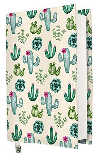 Funda para libro, funda de tela lavable e impermeable para libros de tapa dura, protector de libro acolchado, modelo Cactus, talla M