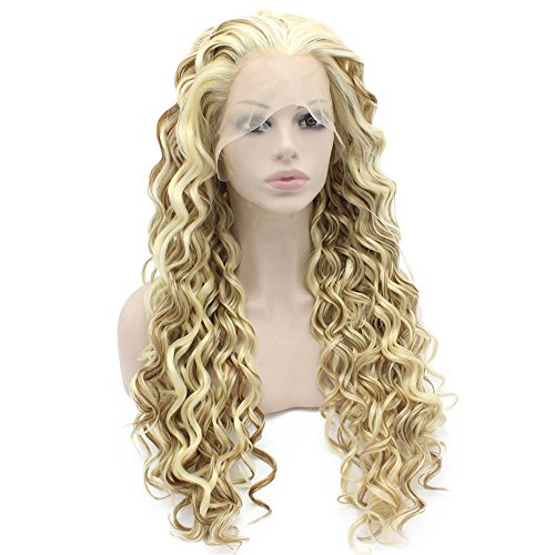 Perücke, blond, lang, gelockt, hitzeresistent, aus Kunsthaar