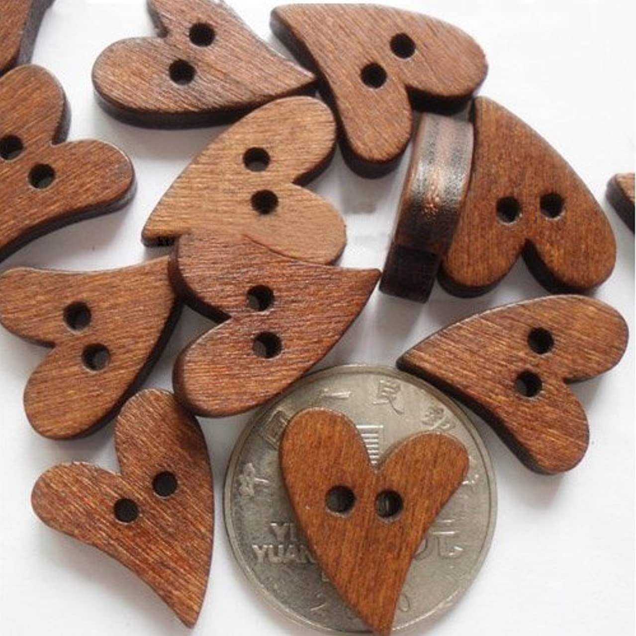 PEPPERLONELY Brand 100PC Brown Heart Shape Wood Buttons 2 Hole Scrapbooking Sewing Buttons 20x16mm
