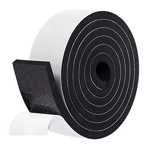 fowong Adhesive Insulation Foam, 2 Inch Wide X 3/8 Inch Thick X 6.5 Feet Long Foam Tape Door Weather Stripping Window Seal Strips Foam Insulation Tape Soundproof Rubber Strips 1 Roll