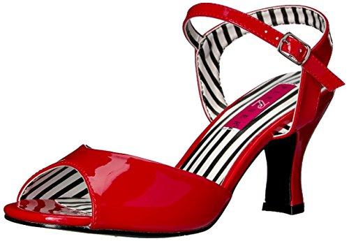 Pleaser Pink Label Jenna-09, Damen Sandalen mit Absatz, Red (Red Pat), 44 EU