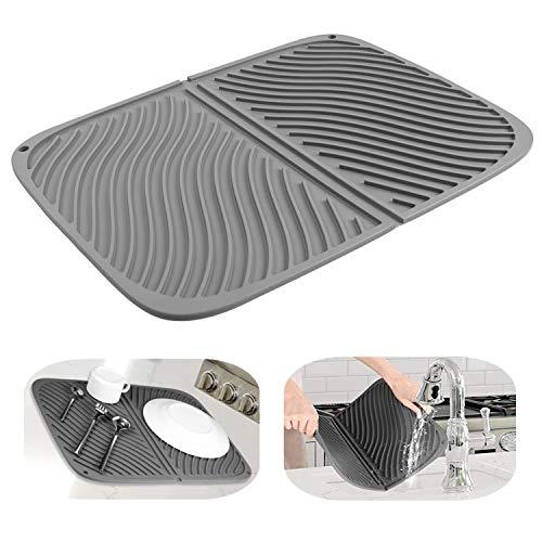 水切りマット食器乾燥用マット速乾食器収納断熱マット滑り止吊ることができ大判シリコン水切りマット(グレー)