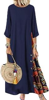 Women Patchwork Cotton Linen Baggy Maxi Dress 3/4 Sleeve Round Neck Retro Long Kaftan Dress
