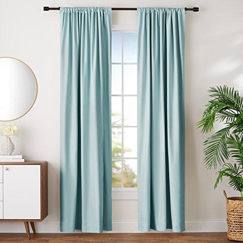 Amazon Basics Room Darkening Blackout Window Curtains with Tie Backs Set - 42' x 96', Seafoam Green