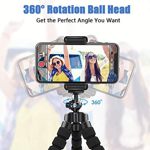 Handy Stativ, Flexibel Smartphone Stativ, Reisestativ Dreibeinstativ mit Bluetooth Fernsteuerung für iPhone 11/XR/X/ 8/P30 pro/Galaxy S20/S10/S9 usw Stativ für Kamera und Gopro