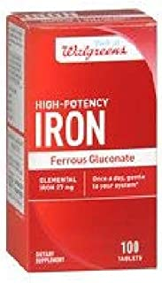 Walgreens High Potency Iron Ferrous Gluconate 27mg, Tablets, 100 ea - 2pc