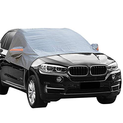 Ma Jia Windshield Snow Cover - Elastic Hooks Fixed Four Wheels & Reflective Warning Bar on Mirror Covers Ice Sun Frost and Wind Proof in All Weather, Fit for Most Vehicle