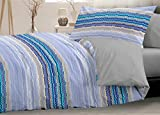 HomeLife Piumone Matrimoniale Invernale Fantasia a Righe Colorate Blu 250X250 | Piumone Letto Autunno/Inverno Double Face | Trapunta Matrimoniale Calda Anallergica | Piumino Microfibra | Azzurro, 2P