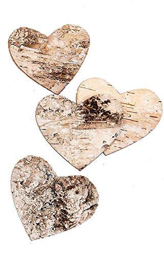 Birkenherz, Rinde, 200 Stück, Natur, 2,5 x 2,5 cm
