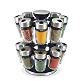 Cole & Mason Premium 16 Jar Filled Herb and Spice <span class='highlight'>Carousel</span>, Stainless Steel and Glass, 25.5 cm